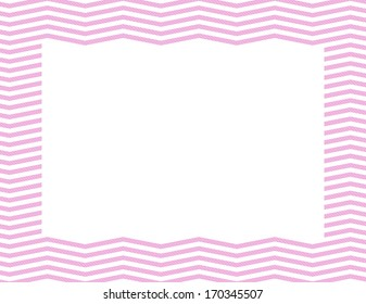 Pink Chevron Frame Background with center isolated for copy-space, Pink Chevron Frame
