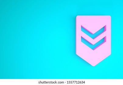 Pink Chevron icon isolated on blue background. Military badge sign. Minimalism concept. 3d illustration 3D render