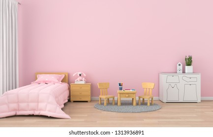 Pink children room interior for mockup, 3D rendering