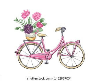Pink city bicycle with flowers in basket. Digital painting.