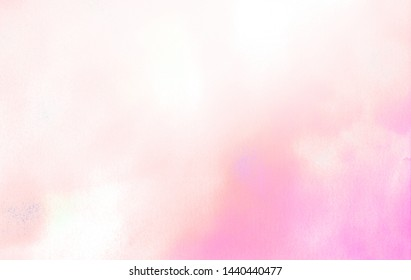 Pink color light ink effect shades gradient on textured paper. Soft smeared aquarelle painted magenta watercolor canvas for splash design, invitation background, vintage template