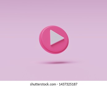 pink colored round play button isolated on pastel background. Concept of video, audio playback. 3d rendering