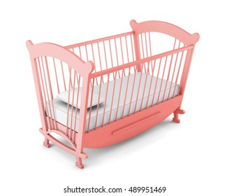 Pink cot bed isolated on white background. 3d rendering.