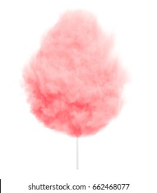 Pink cotton candy on a stick isolated on white background.