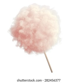 Pink cotton candy on white isolated background