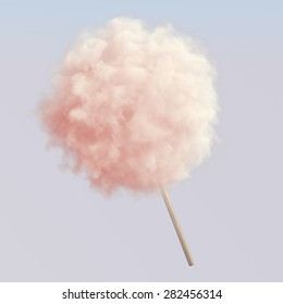 Pink cotton candy on wooden stick