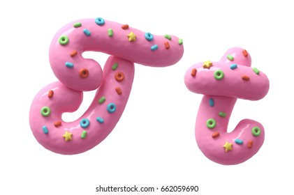 Pink cream with colorful sweets font. 3d rendering.