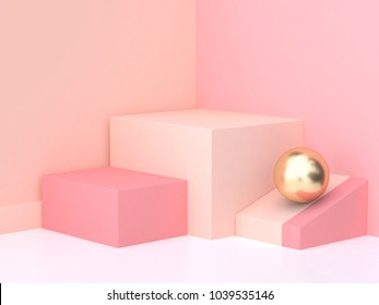 pink cream scene square podium minimal abstract 3d rendering
