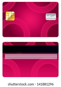 Pink credit card design with tire track