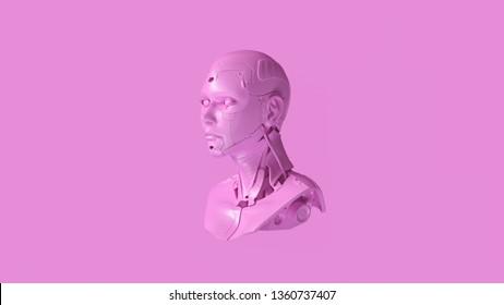 Pink Cyborg Bust 3d illustration 3d render