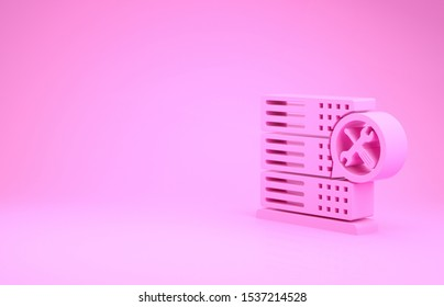 Pink Database server with screwdriver and wrench icon isolated on pink background. Adjusting, service, setting, maintenance, repair, fixing. Minimalism concept. 3d illustration 3D render