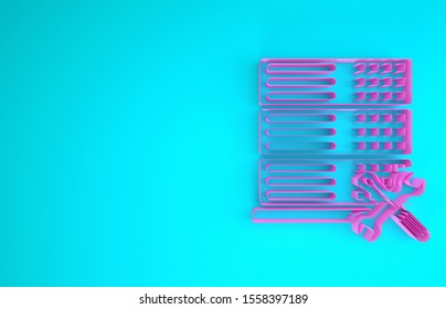 Pink Database server with screwdriver and wrench icon isolated on blue background. Adjusting, service, setting, maintenance, repair, fixing. Minimalism concept. 3d illustration 3D render