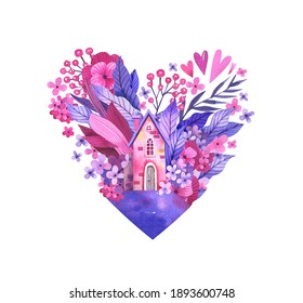 Pink delicate flowers, sweet home in the shape of a heart watercolor illustration. Hand-drawn illustration in pink tones isolated on white background. Home Sweet Home. Picture for postcard, poster, in