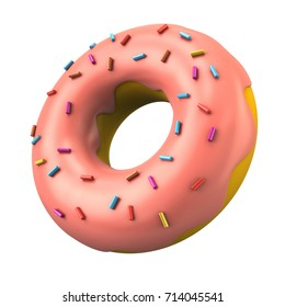 Pink donut with decorative sprinkles 3d illustration on white background