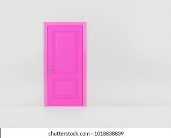 Pink door isolate on white wall background. recognition concept.3D illustration and rendering