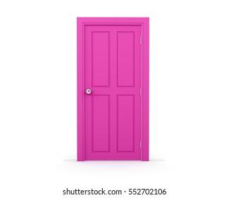 pink door on white background Valentine day concept 3d rendering