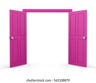 pink double door open on white background 3d  rendering