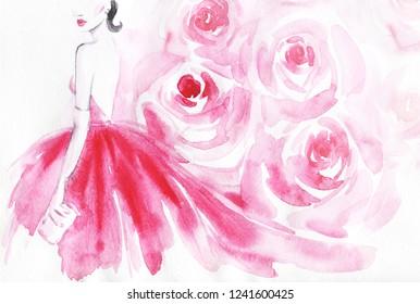 pink dress. beautiful woman. fashion illustration. watercolor painting