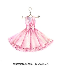 Pink dress for girl. Watercolor illustration isolated on white background.