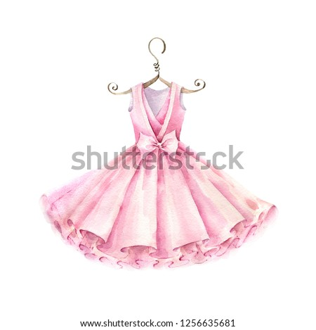 7cebae601451 Pink dress for girl. Watercolor illustration isolated on white background.
