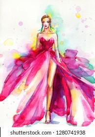 pink dress. runway. beautiful woman. fashion illustration. watercolor painting