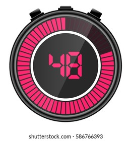 Pink electronic digital stopwatch illustration. Showing 48 seconds remaining.