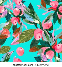Pink exotic fruits watercolor on turquoise background seamless pattern for all prints on hand painting style.