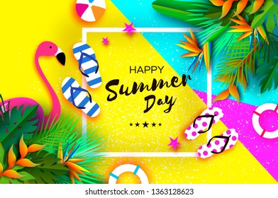 Pink Flaingo. Flower Strelitzia. Bird of paradise - exotic tropical plant. Palms. Origami lifebuoy. Sport ball game. Flipflops shoes. Vacation and travel concept. Summertime. Square frame. Text.