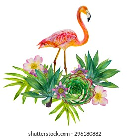 Pink flamingo with exotic tropical plants isolated on a white background. Floral composition. Hand-drawn watercolor picture. Roses, yucca palms, leaves, passionflower, succulent