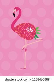 Pink flamingo strawberry