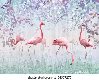 Pink flamingos in a delicate garden in a turquoise mist. Mural and Wallpapers for interior printing.