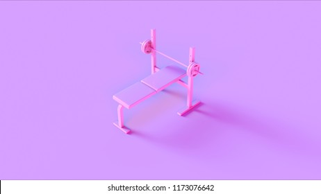 Pink Flat Weight Bench 3d illustration 3d rendering
