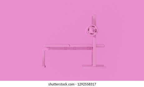 Pink Flat Weight Bench 3d illustration
