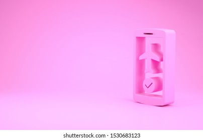 Pink Flight mode in the mobile phone icon isolated on pink background. Airplane or aeroplane flight offline mode passenger regulation airline . Minimalism concept. 3d illustration 3D render