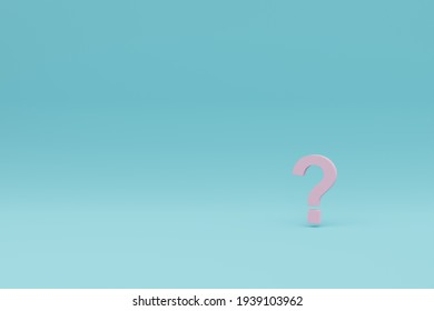 Pink floating question mark on cyan background 3D rendering