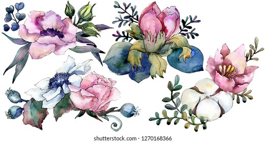 Pink floral botanical flower bouquet. Wild spring leaf wildflower isolated. Watercolor background illustration set. Watercolour drawing fashion aquarelle. Isolated bouquet illustration element.