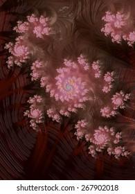 Pink floral ornaments on reddish brown fractal design background