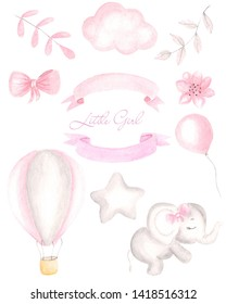 Pink floral watercolor illustration for girls. Watercolor card. Invitations for girls. Separate pink elements of elephant, ball, cloud, balloon.