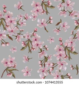 Pink Floral Wreath Seamless Pattern on Grey Background. Watercolor Painted Apple, Almond, Plum, Cherry Flowers. Fruit tree Flower Wreath Rapport for Background, Print, and Textile.