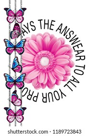 Pink flower with around black lines, texts and butterflies. JPEG format.