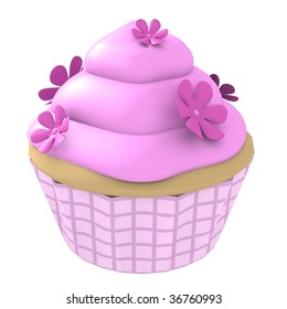 Pink flower cupcake - 3d computer generated