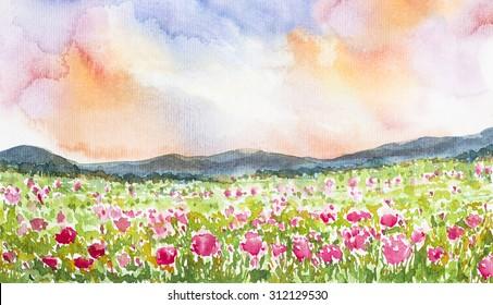 pink flower field landscape watercolor on paper
