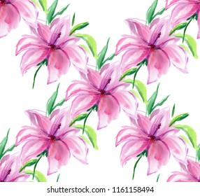 Pink Flower of Hibiscus or Lily isolated. Watercolor illustration. Seamless pattern. Bouquets. Watercolor flowers.