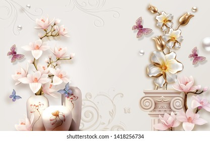 PINK FLOWER VASE WITH PURPLE JEWEL BUTTERFLY- Illustration