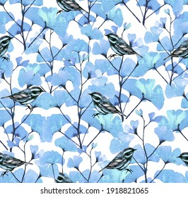 Pink flowers and birds illustration print pattern