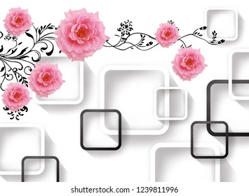 Pink flowers with floral pattern on decorative background 3D wallpaper