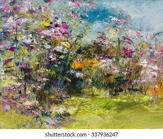 Pink Flowers In The Garden, Oil Painting, Artistic Background