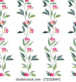 Pink flowers and green leaves on striped seamless pattern. Watercolor illustration for textile, web, print, wrapping, fabric, wallpaper on white background
