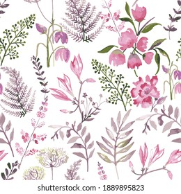 Pink flowers and leafs with white background. Colorful seamless pattern. Romantic garden flowers illustration. Faded colors.