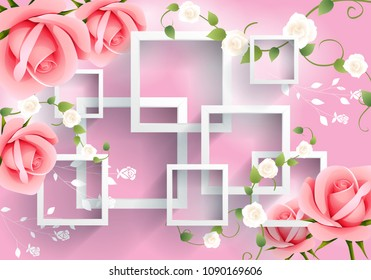 Pink flowers with rectangular background.